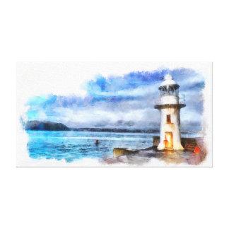 Impressão Em Canvas Farol e quebra-mar icónicos de Brixham Inglaterra
