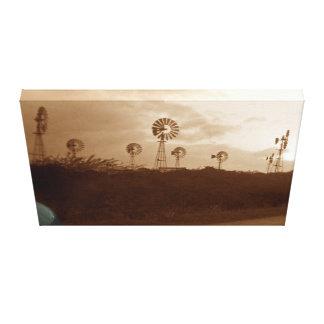 Impressão Em Canvas fazenda do moinho de vento do Sepia dos anos 40