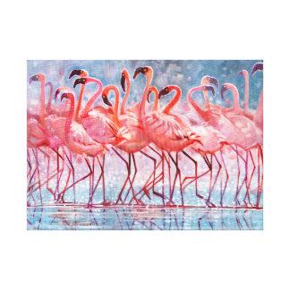 Impressão Em Canvas Flamingos