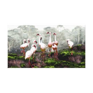 Impressão Em Canvas Flamingos cor-de-rosa