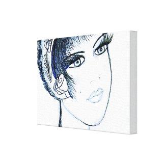 Impressão Em Canvas Flapper extravagante nos azuis e no preto