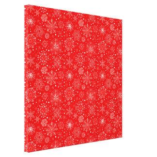 Impressão Em Canvas Flocos de neve brancos no vermelho do Natal