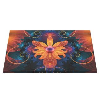Impressão Em Canvas Flor Alaranjado-Azul bonita da orquídea do anjo do