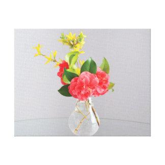Impressão Em Canvas Flores bonitas do amarelo do rosa do vaso da foto