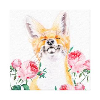 Impressão Em Canvas Foxy feliz e rosas