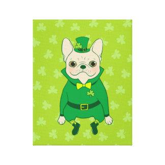 Impressão Em Canvas Frenchie bonito afortunado no dia de St Patrick