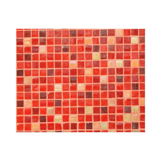 Impressão Em Canvas Fundo vermelho do azulejo de mosaico