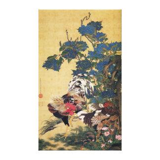 Impressão Em Canvas Galo e galinha Multi-coloridos bonitos