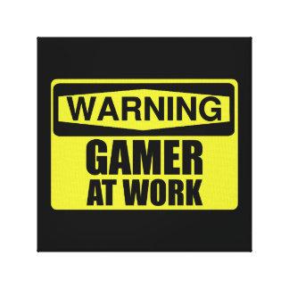 Impressão Em Canvas Gamer do sinal de aviso no trabalho engraçado