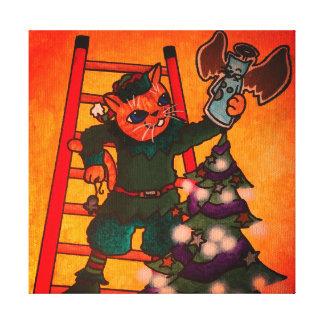 Impressão Em Canvas Gato do duende do Natal