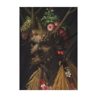 Impressão Em Canvas Giuseppe Arcimboldo quatro estações em uma cabeça