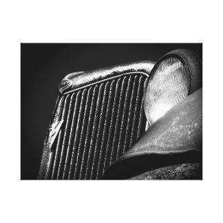 Impressão Em Canvas Grade preta & branca do carro vintage