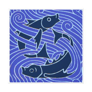 Impressão Em Canvas Gráfico do azul dos peixes da natação