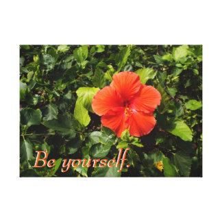 Impressão Em Canvas Hibiscus alaranjado e citações positivas