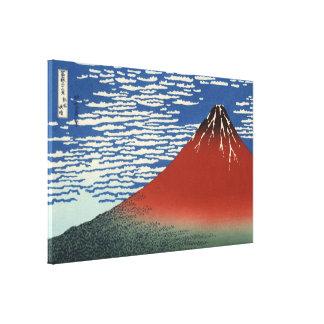 Impressão Em Canvas Hokusai Fuji vermelho, vento sul, céu claro