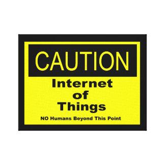 Impressão Em Canvas Internet do sinal de aviso do cuidado de IoT das