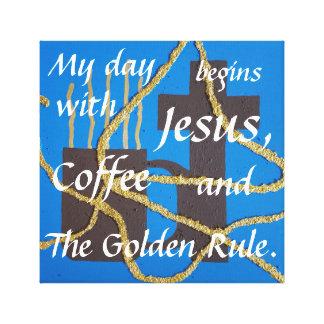 Impressão Em Canvas Jesus, café, e a regra de ouro