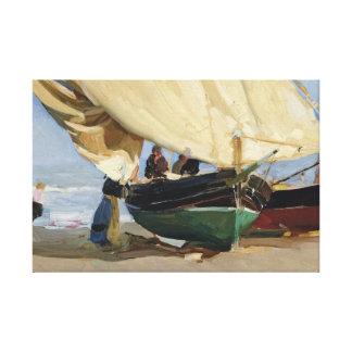 Impressão Em Canvas Joaquin Sorolla - Pescadores. Varadas de Barcas