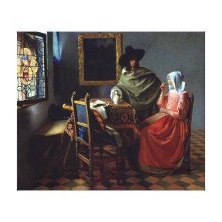 Impressão Em Canvas Johannes Vermeer o vidro de vinho