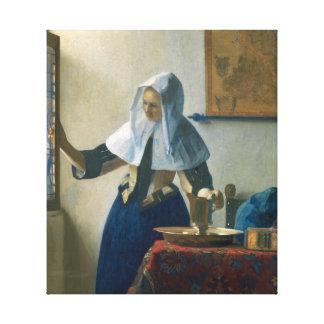 Impressão Em Canvas Jovem mulher de Johannes Vermeer com um jarro da