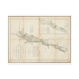 Impressão Em Canvas Lago Champlain e mapa 1762 histórico de George do