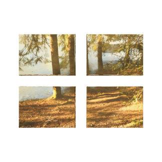 Impressão Em Canvas Lagoa da floresta da primavera
