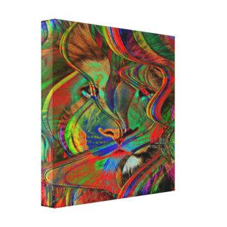 Impressão Em Canvas Leão abstrato