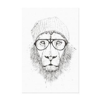 Impressão Em Canvas Leão legal (preto e branco)