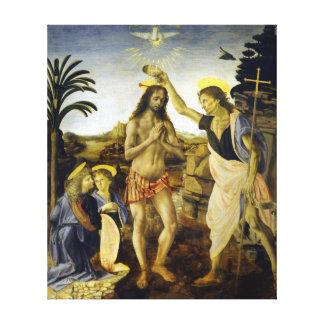 Impressão Em Canvas Leonardo da Vinci o baptismo do cristo