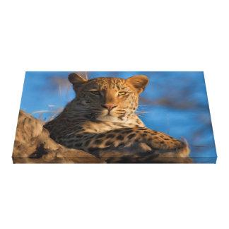 Impressão Em Canvas Leopardo original na rocha