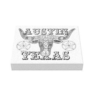 Impressão Em Canvas Linha design do boi de Austin Texas da arte