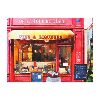 Impressão Em Canvas Loja de vinho francês no vermelho