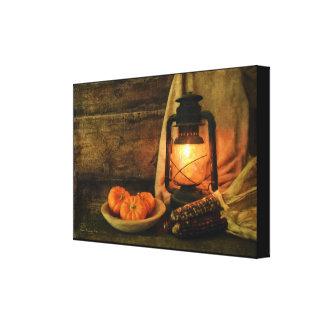 Impressão Em Canvas Luz da lanterna com abóboras e milho