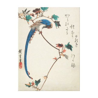 Impressão Em Canvas Magpie azul no japonês Woodblock do ramo do bordo