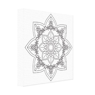 Impressão Em Canvas Mandala preto e branco pelo alcatrão de Ana, 407