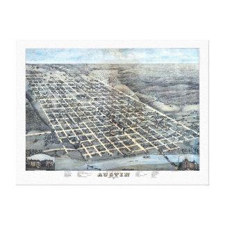 Impressão Em Canvas Mapa aéreo antigo de Austin, Texas da cidade, 1873