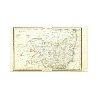 Impressão Em Canvas Mapa antigo do vintage do Suffolk (Inglaterra)