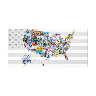 Impressão Em Canvas Mapa da placa de licença dos Estados Unidos da