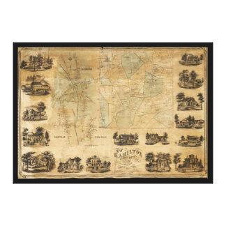 Impressão Em Canvas Mapa de Hamilton, o Condado de Madison, New York
