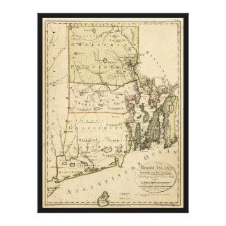 Impressão Em Canvas Mapa de Rhode - ilha por Carl Ernst Bohn (1797)