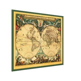 Impressão Em Canvas Mapa do mundo antigo - Joana Blaeu - tapeçaria