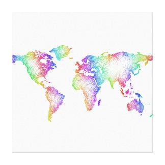Impressão Em Canvas Mapa do mundo do arco-íris