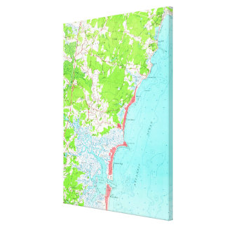 Impressão Em Canvas Mapa do vintage da praia New Hampshire de Hampton