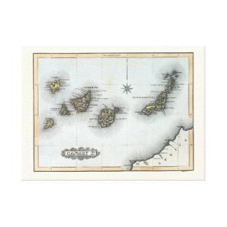 Impressão Em Canvas Mapa do vintage das Ilhas Canárias