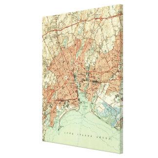 Impressão Em Canvas Mapa do vintage de Bridgeport Connecticut (1951) 2