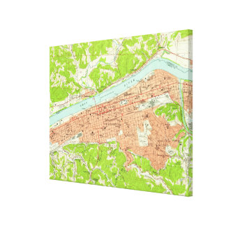 Impressão Em Canvas Mapa do vintage de Huntington West Virginia (1957)