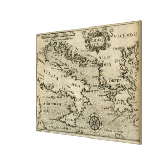 Impressão Em Canvas Mapa do vintage de Italia e de piscina (1587)