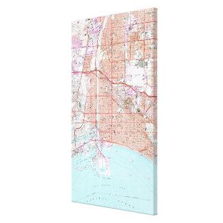 Impressão Em Canvas Mapa do vintage de Long Beach Califórnia (1964)
