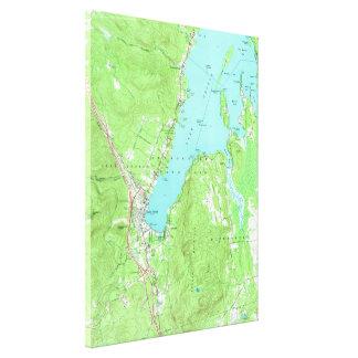 Impressão Em Canvas Mapa do vintage do lago George New York (1966)