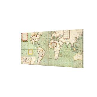 Impressão Em Canvas Mapa do vintage do mundo (1702)